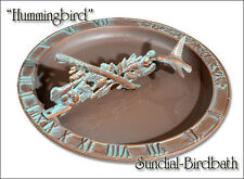 Whitehall Hummingbird Sundial-Birdbath Combo in Copper Verdi & Rust Free!