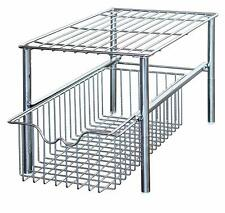 Stackable Under Sink Cabinet Sliding Basket Organizer Drawer,Chrome