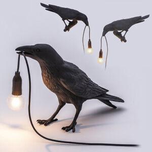 Indoor LED Bird Table Lamp Crow Decor Home Bedroom Office Landscape Light