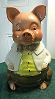 Vintage Cookie Jar Pig In Dress Clothes HJ Wood England