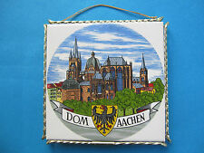 GERMANY DOM AACHEN - COLORED CERAMIC DISPLAY W/ ORG. SILVER METAL FRAME & STRING