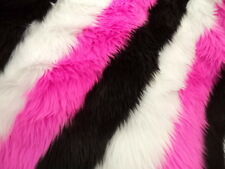 BLACK WHITE AND PINK FAUX FUR SHAGGY 3 TONE SLANT STRIPE FABRIC BY THE YARD