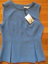 DIANE VON FURSTENBERG MALLORIE CORNFLOWER BLUE PEPLUM TOP, NWT $248, 2