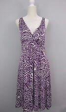 Banana Republic Womens Cross-Back Purple & White Print Dress Size  L