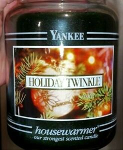 "Yankee Candle Retired Black Band ""HOLIDAY TWINKLE""~Large 22 oz ~WHITE LABEL~RARE"