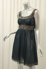 ADRIANNA PAPELL Navy Blue Pleated Chiffon Beaded Empire Dress P8