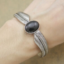 Vintage Silver Wing Feather Obsidian Zuni Navajo Style Bracelet Bangle Cuff