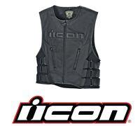ICON Regulator D3O Leather Motorcycle Vest (Black) Choose Size
