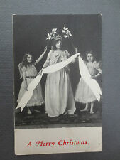 ANTIQUE Postcard CHRISTMAS Girls Dressed as Angels Bare Feet Tiara Edwardian
