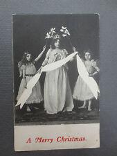 ANTIQUE Postcard CHRISTMAS Girls Dressed as Angels Bare Feet Tiara Edwardian