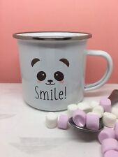 Smile! Panda Enamel Mug. Camping/ Christmas Gift Idea/ Stocking Filler