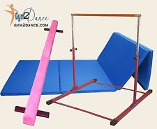 Combo Gymnastics Beam 8' +10' Blue Mat +Adjustable Gymnastics bar by Gym 2 Dance