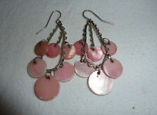 Silver tone & round Mother of Pearl pink coated disks chandelier hook earrings