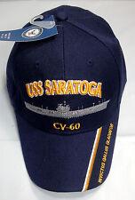 USS Saratoga CV 60 CVA Ball Cap Embroidered US Navy Veteran Aircraft Carrier Hat
