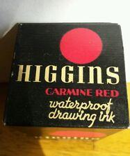 RARE Unopened Vintage1950''s Higgins Waterproof Drawing Ink CARMINE RED 3/4 oz