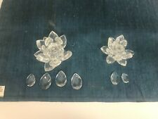 Lot 2 Swarovski Crystal Water Lily Lotus Candle Holders Need Leaves Reattached