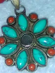 """Vintage Paige Wallace 10"""" Necklace Turquoise and Coral Gemstones with Tag!"""
