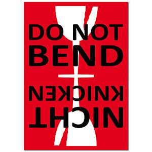 Aufkleber Sticker Etiketten Label caution DO NOT BEND care Versand Umzug Paket