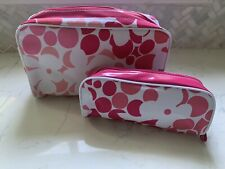 NEW 2 Piece Clinique Pink & White Floral Cosmetic Makeup Bags