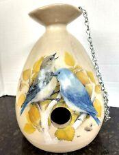 "Yesteryears Vtg Hand Turned Pottery 8"" Bluebirds Finch's Birdhouse/ Usa Texas"