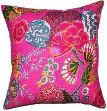 24x24 Pink Kantha Pillow Cover, Kantha throw Pillow, Floral kantha cushion Cover