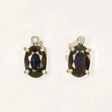 SAPPHIRE EARRINGS NATURAL BLUE SAPPHIRE REAL DIAMONDS 9K WHITE GOLD STUDS NEW