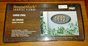 Open Box New Gaines HouseMark Address Plaque Large Oval Bronze H2-LOBR