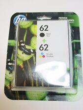 Genuine HP 62 Black and 62 Tri-color Printer Ink Cartridges N9H64FN Exp 2019