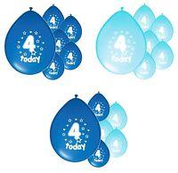 10 x 4th BIRTHDAY BOY/ AGE 4 BOY BLUE AND BABY BLUE BIRTHDAY BALLOONS (PA)