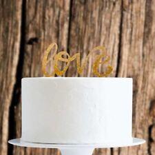 Gold Glitter Love Cake Topper x1 Baking Pick Decoration Wedding