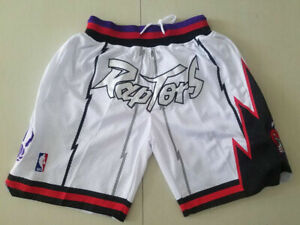 Toronto Raptors Men's Vintage Basketball Shorts Stitched White Size:S-XXL