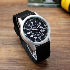 Men's Army Military Aviator Nylon Quartz Date Wrist Watch G 8029 Silver BK