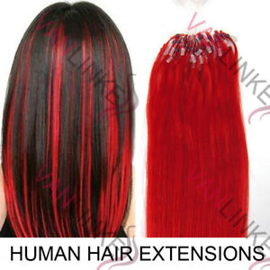"16""-22"" Micro Ring Beads Loop Tip Remy Human Hair Extension Straight Red 50/100s"