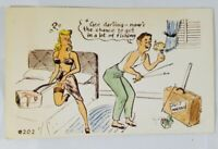 "Rare Vintage Postcard 1940's? ""A Genuine Kromekolor Comic Card"" #202 Newlyweds"