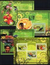 GUINEE 2007 PAONS ET FRUITS PEACOCKS BIRDS VOGEL FLORA FAUNA STAMPS 4 S/S MNH**