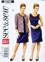 Misses 8-16 Lined Jacket & Lined Dress Butterick B5769 Easy Pattern NEW
