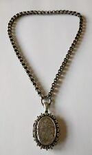 Antique Sterling Bookchain Locket Pendant Necklace
