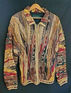 Authentic Vintage Tundra Coogi Style Textured 90's Hip-Hop Sweater Jacket Medium