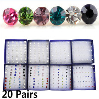20 Pairs/Set Fine Crystal Cute Ear Stud Earrings Women Jewelry Christmas Gift