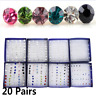 20 Pairs/Set Charm Crystal Cute Ear Stud Earrings Women Jewelry Christmas Gift