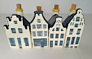 KLM 2005 Blue Delft Miniature House Lot Of 4 Numbers 10, 11, 13, 76 Empty