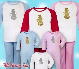 Personalised Christmas Pyjamas - 100% cotton xmas gift. Christmas eve - Snowman