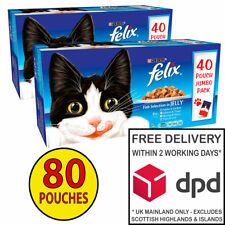 Felix FISH Selection Adult Cat Food in Jelly 2 x (40x100g) = 80 Pouches!