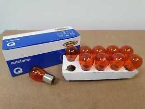 10 x Ring R343 Amber Indicator Bulbs 12V 21W BA15S Opposite Pins New UK