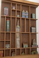 Delightful Little Collection of Miniature Wooden Houses in Vintage Printers Tray