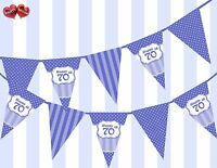 Brilliant Blue Happy 70th Birthday Vintage Polka Dots Theme Bunting Banner Party