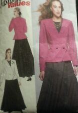 Vintage 1980's Sewing Pattern*Ladies Fitted Lined Jacket & Skirt*Double Breasted