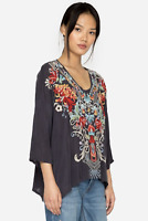 💕NWT! JOHNNY WAS Floral Embroidered V Neck VALERIE BLOUSE Cupra Tunic M $220💕