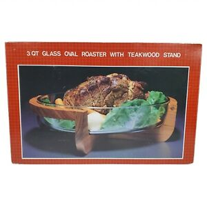 NEW Gailstyn Sutton Midcentury Modern MCM Roaster Serving Bowl Glass Wood Teak