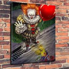 "Pennywise IT Art Printed Canvas Picture A1.30""x20""-30mm Deep Horror Stephen King"